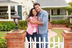Couple outside home