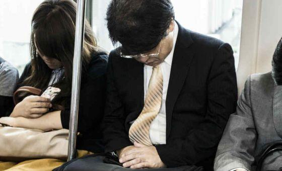 train commuters asleep