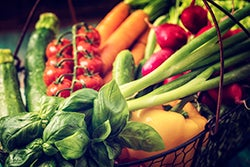Basket With Organic Vegetables Fresh From Market