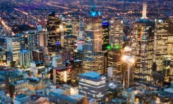 Aerial view of Melbourne city at night.