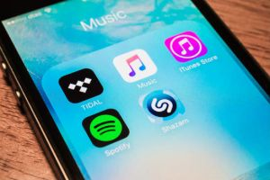 Music streaming apps on smartphone