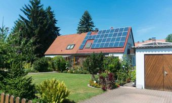 private house with solar panels
