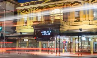 Adelaide Arcade building at night