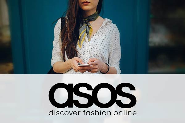 ASOS logo over a picture of a fashionable young woman.