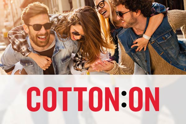 Cotton on logo over a group of young people having fun with piggy back rides.