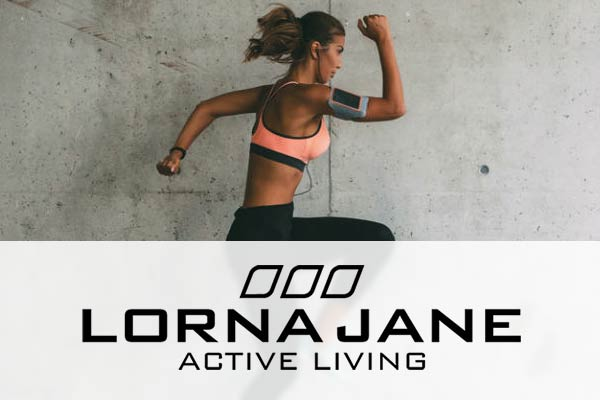 Lorna Jane logo over a picture of a young woman running .