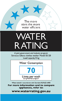 Label for the WELS appliance water rating system