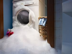 washing machine filled with soap