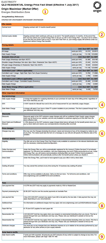Origin Energy Price-fact sheet