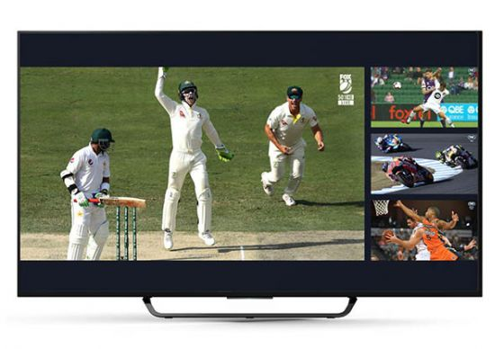 Sports app Kayo on a smart television