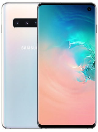 Samsung Galaxy S10 front and back in prism white