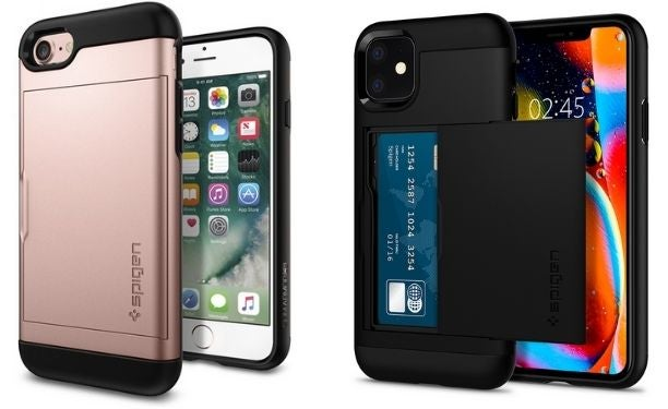 Two Spigen Slim Armor Cases on iPhones