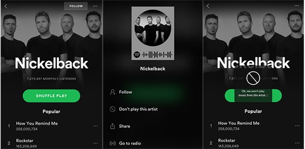 How to block Nickelback on your Spotify