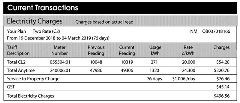 electricity tariff example