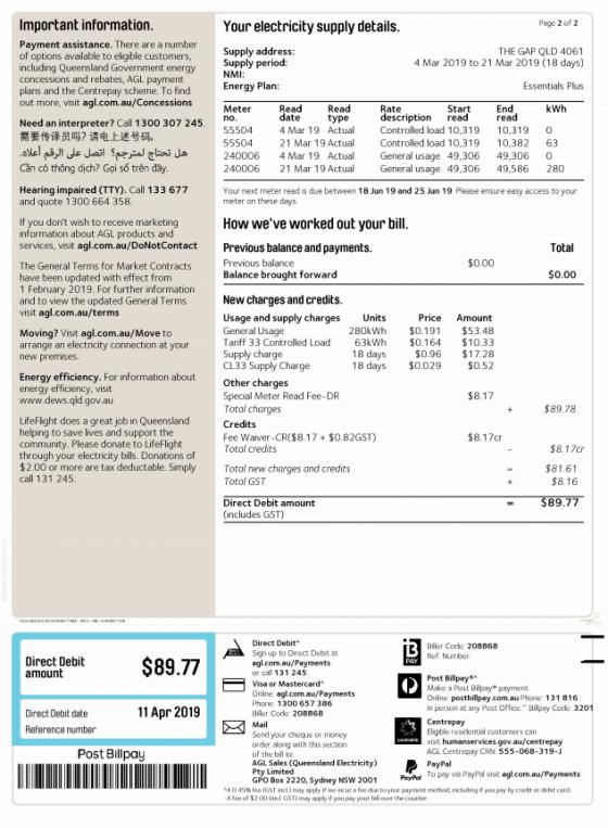 AGL Energy Bill Example