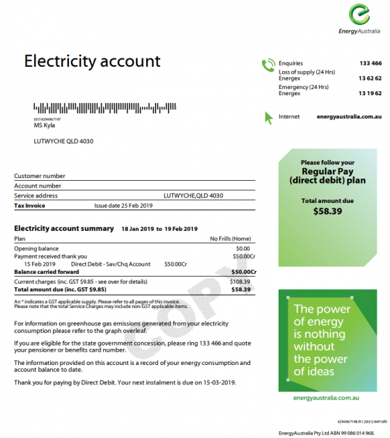 EnergyAustralia Bill Example
