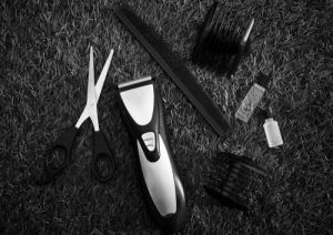 Black and white a haircut equipment - Image