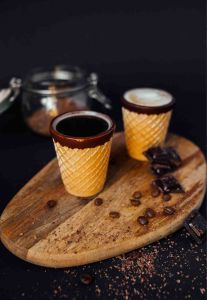 Edible coffee cup with inner chocolate lining