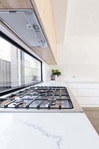 Close up of gas cooktop in a contemporary new kitchen - Image