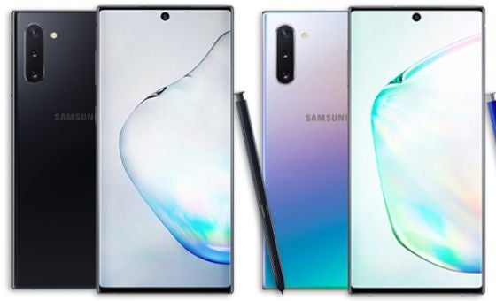 Black and white Samsung Galaxy Note 10 phones