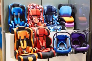 Baby car seats in the store