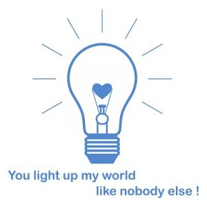 Light bulb with caption