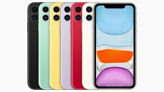 Several iPhone 11 phones lined up in a variety of colours