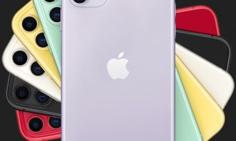 iPhone 11 phones in six colours on dark background