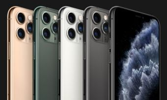 iPhone 11 Pro devices on black background
