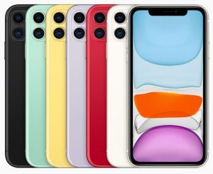 iPhone 11 in six colours