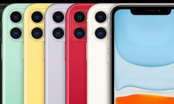 iPhone 11 in six colours on black background