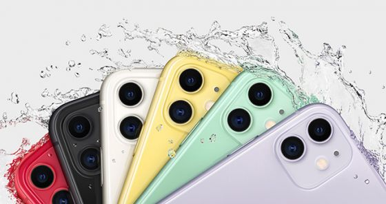 iPhone 11 in six colours with water splash