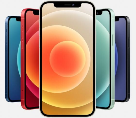 iPhone 12 series phones in several colours