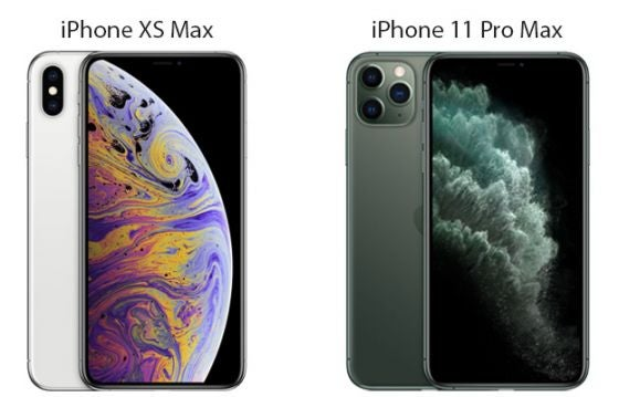 iPhone XS Max in silver and iPhone 11 Pro Max in midnight green