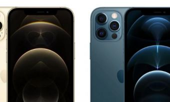 Two iPhone 12 Pro Max phones in Gold and Blue