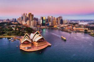 Pinkish colourful sunrise over Sydney city CBD