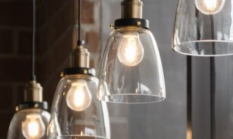 Vintage light bulbs in rustic background