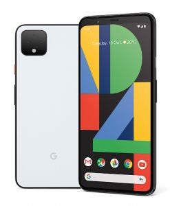 Front and back of Google Pixel 4 XL phone in Clearly White colour