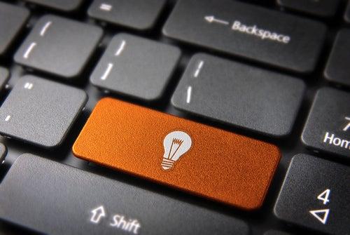 Orange keyboard light bulb