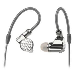 sony grey silver earphones