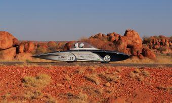 solar car in desert