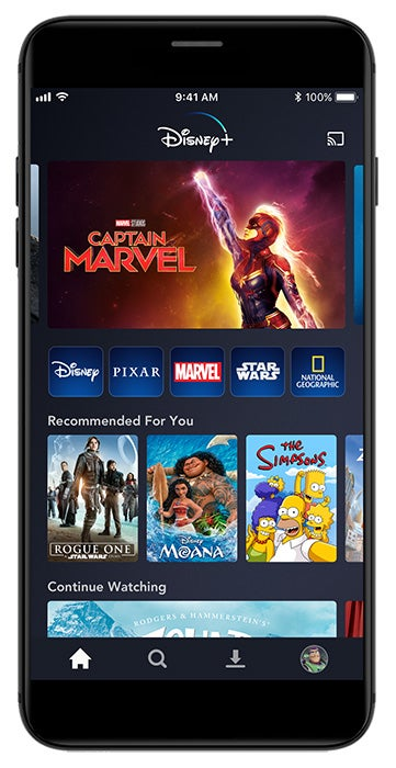 Disney+ app home interface on mobile phone