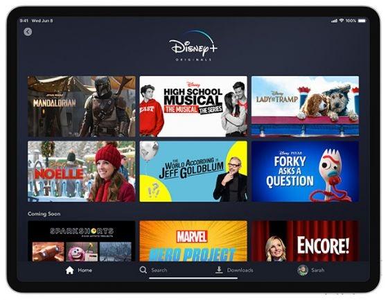 Disney Plus originals on home screen on tablet device app