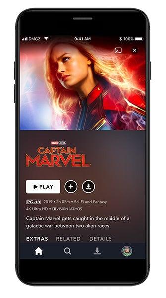 Captain Marvel on Disney Plus phone app