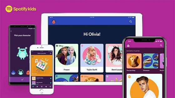 Examples of the Spotify Kids app on several different devices
