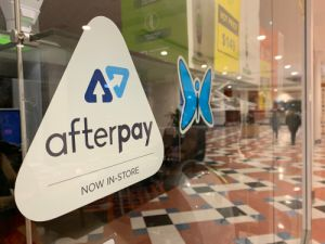 Afterpay sign on a shopfront window
