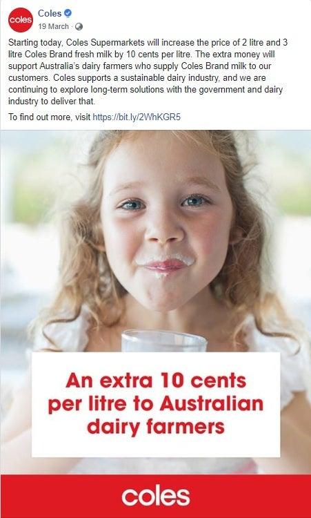 Coles milk price increase