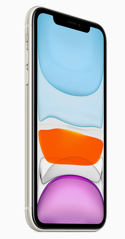 Apple iPhone 11 in white showing front screen