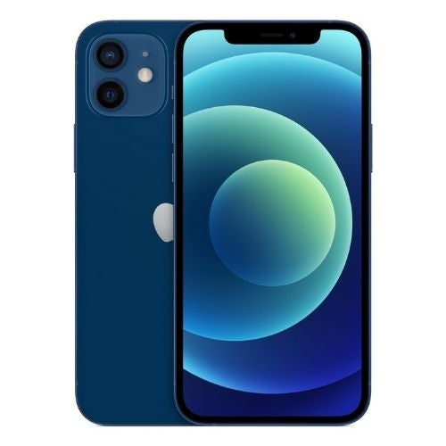 An iPhone 12 in blue