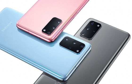 Samsung S20 phones in pink, blue and grey
